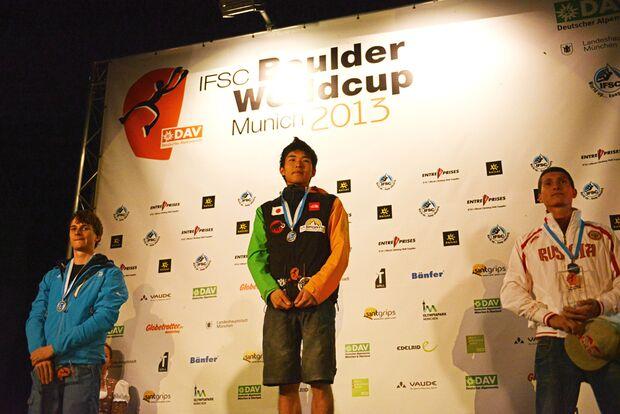 KL_Boulder Worldcup Muenchen 2013_Siegerehrung Worldcup Muenchen_Thomas Tauporn_GER_Rei Sugimoto_JPN_Rustam Gelmanov_RUS_SKE_7113 (jpg)