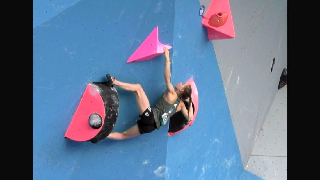 KL Janja Garnbret klettert im Boulder-Weltcup in Chongqing 2017