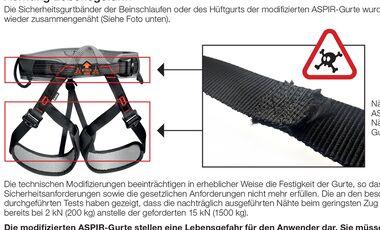 KL Petzl Aspir Klettergurt eBay böswillige Manipulation
