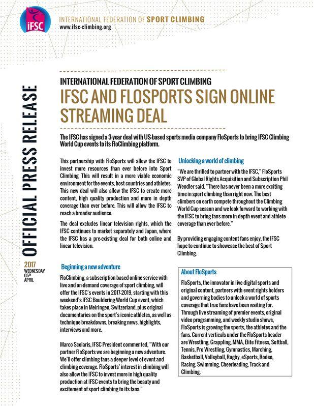 KL Pressemitteilung IFSC Flosports