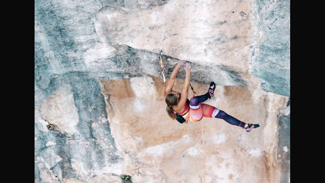 KL Sasha DiGiulian klettert in Oliana, Spanien
