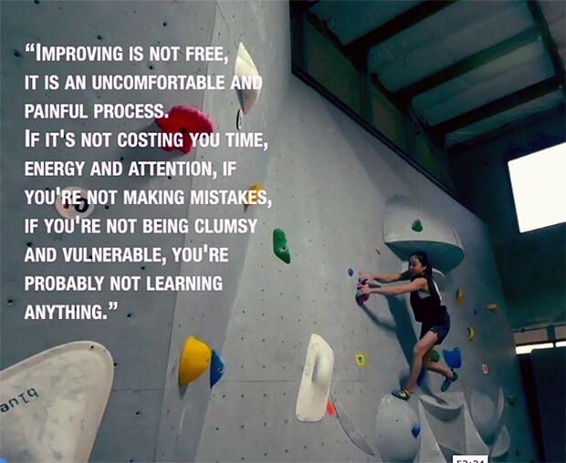 Lernen ist unbequem: Zitat von Kletter-Coach Udo Neumann